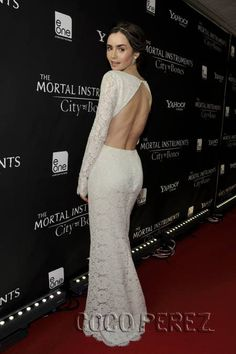Lily Collins is bridal at The Mortal Instruments: City of Bones premiere in Canada