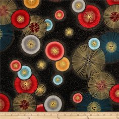 Imperial Collection Metallics Circle Burst Vintage from @fabricdotcom  Designed by Studio RK for Robert Kaufman, this cotton print is perfect for quilting, apparel and home decor accents.  Colors include black, grey, pink, mustard, red, blue and metallic gold.
