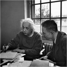 Albert Einstein, in Discussion with Robert Oppenheimer in Office Institute for Advanced Study