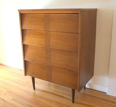 Mid century modern tall dresser with a louvered parquet design and tapered legs Tall Dresser, Antique Furniture, Mid-century Modern, Mid Century, Legs, Cabinet, Retro, Antiques, Storage