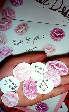"""Kisses for You"" Valentines. Cut out lipstick kiss marks and write sweet notes on the back as a cute Valentine's Day gift."