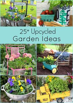 Garden Art 65760 Over 25 creative upcycled garden ideas. Repurposing thrift store and discarded items is a great inexpensive way to create unique garden art and decor. Diy Garden Furniture, Diy Garden Projects, Garden Crafts, Diy Garden Decor, Garden Decorations, Creative Garden Ideas, Diy Upcycled Garden Ideas, Yard Art Crafts, Garden Ideas To Make
