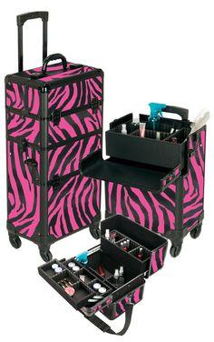 Pro Aluminum Makeup Case Pink Zebra 4 Wheeled Spinner if only it was purple Makeup Storage, Makeup Organization, Professional Makeup Case, Rolling Makeup Case, Mobile Nails, Eye Makeup Tips, Makeup Geek, Makeup Tools, Eyeshadow Makeup