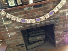 From Ms. to Mrs. banner made with kraft colored chipboard which has a distressed look. Each piece is 4x4. Letters are white unless a different