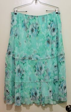 Alfred Dunner Plus Size 2X Size 18 Skirt green #AlfredDunner #PlusSize #skirt #green #floral