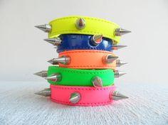Neon Pyramid Spikes Cuff Bracelets by Handemadeit, $14.90
