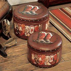 Cowboy Boot Ottoman Set - 2 pcs - CLEARANCE