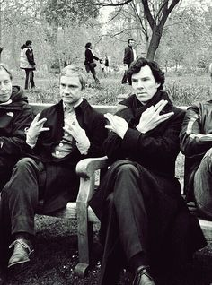Martin & Benedict throwing gang signs on the set.