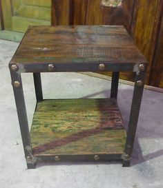 Bali Furniture Iron Wooden Recycled Boat Timber Cube Stool Chair Seat Industrial