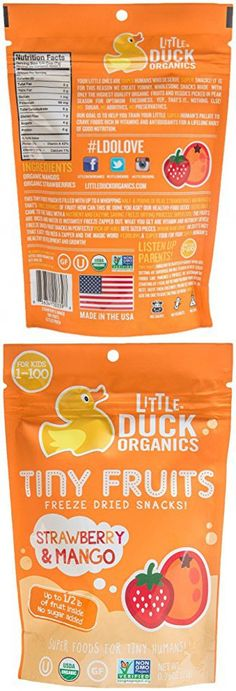 Little Duck Organics Tiny Fruits-Strawberry and Mango-0.75 Ounces-6 Pack