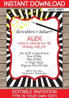 Magic Party Invitations | Birthday Party | Editable DIY Theme Template | INSTANT DOWNLOAD $7.50 via SIMONEmadeit.com