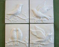 Birds on a Vine Handmade Relief Ceramic Tiles  -- Set of 4 -- Ivory Belleek -- Vintage -- Accent tiles, IN STOCK