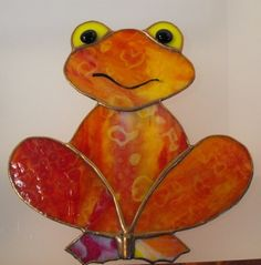 Silly Stained Glass Frog Garden Stake/Suncatcher by Glasstastic, $25.00