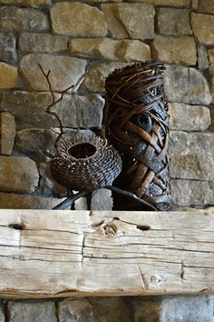 2 Baskets With Branches As Fireplace Mantel Art Fireplace Mantels, Branches, Sculpture Art, Baskets, Contemporary, Artist, Hampers, Artists, Fireplace Mantel