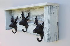 Shelf with Moose Hooks Shabby Chic Style by DrakestoneDesigns