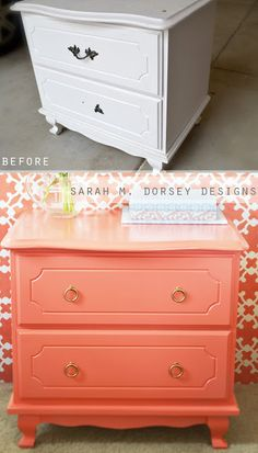 love the coral color of this nightstand!  I think I may have to redecorate my master bedroom :)