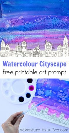 Watercolour Cityscape Easy Painting for Kids with a Printable Prompt Simple art project for kids Paint a watercolor cityscape using a free printable prompt kidsart kidscrafts watercolor painting Art Videos For Kids, Art Projects For Teens, Easy Art Projects, Art For Kids, Kids Watercolor, Watercolor Projects, Watercolor Painting, Galaxy Watercolour, Watercolors