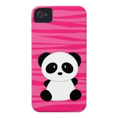 WANT THIS Cute Panda Zebra Print iPhone 4 Case pink background. I'm gonna draw this! But with a heart on it's tummy. :)