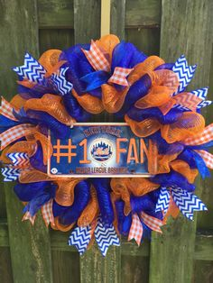Mets Wreath, Mets Gift, Mets Decor, Mets Fan Gift, Orange Blue Wreath, Mets Mesh Wreath, Baseball Wreath,Mets, New York Mets by PastNPresentsByAlana on Etsy https://www.etsy.com/listing/253104723/mets-wreath-mets-gift-mets-decor-mets