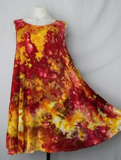 Tie dye sleeveless tunic ice dye - size XL - Fire on the Mountain Beautiful ice dyed piece by A Spoonful of Colors Find this item on https://aspoonfulofcolors.com