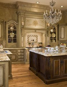 Tuscan Style Kitchen with beautiful vintage lighting -