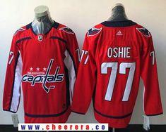 Men's Washington Capitals #77 T.J. Oshie Red Home 2017-2018 adidas Hockey Stitched NHL Jersey