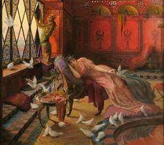 George Rochegrosse - Salammbô et les colombes, c. 1895 - Dreux ; Musée d'Art et d'Histoire Marcel Dessal