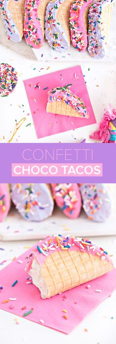 Confetti Choco Tacos perfect for Cinco De Mayo Köstliche Desserts, Frozen Desserts, Frozen Treats, Delicious Desserts, Dessert Recipes, Mexican Desserts, Drink Recipes, Dinner Recipes, Taco Bar
