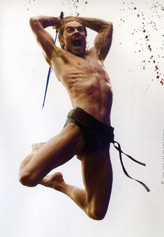 300 (2006). King Leonidas and a force of 300 men fight the Persians at Thermopylae in 480 B.C. -- In Fassbender resume as young actor one reads : three years ballet, horse riding, athletics, stage fighting, swimming...