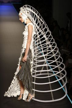 Sculptural Cage Construct - extreme 3D fashion structures; fashion architecture // Jean Paul Gaultier