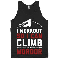 Mordor Workout, girly, shirts, tanks, clothing, tops, Lord of the Rings, Nerdy, Mens, Fitness, Exercise, American Apparel. on Etsy, $22.00