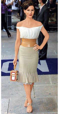Kate Beckinsale in Givenchy--love the skirt, belt and purse!
