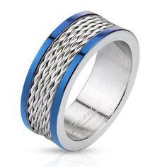 Bague homme en acier bleu et gris avec cinq lignes de filins