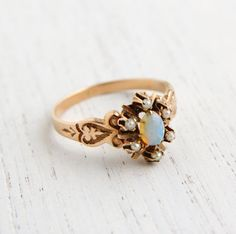 Antique 10K Rose Gold Victorian Opal & Seed Pearl Ring - Size 6 3/4 Fine Jewelry / Fiery Opal Flower