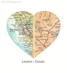Personalized map print for a perfect Valentines Day Gift or long distance relationship couples. This heart map art can also include your favorite quote as well. Any WORLDWIDE locations! Printed on beautifully textured, archival quality fine art paper. HOW TO ORDER When purchasing