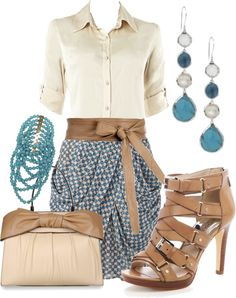 """Spring Work Outfit"" by throwaway1 ❤ liked on Polyvore. Such a cool skirt - what is that style called? Wrapped drape skirt maybe??"