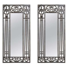 Tall Pair of Iron Art Nouveau Mirrors - France, 1910's | From a unique collection of antique and modern floor mirrors and full-length mirrors at http://www.1stdibs.com/furniture/mirrors/floor-mirrors-full-length-mirrors/
