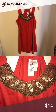 Red beaded sundress Lightly worn. Wooden beading details at neckline. Dresses Midi
