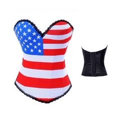 American Flag Designed Black/Brown Waffle Lace Bustiers & Corsets