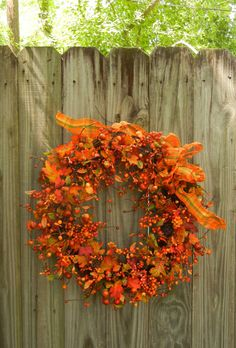 Fall Autumn Wreath   Outdoor Wreath  Pumpkin by forevermore1, $85.00