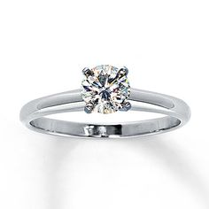 Diamond Solitaire Ring 5/8 carat Round-Cut 14K White Gold--so simple. love this. Reminds me of my gorgeous ring!