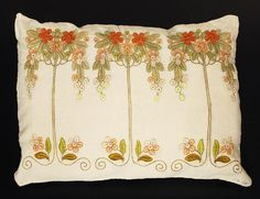 "262.	Arts & Crafts pillow, unknown maker, No. 170, ca. 1905-1910, orange, green, brown, peach and yellow floss on oatmeal linen fabric, buttonhole and outline stitches, conventional floral motif, wonderful design and needlework, signed ""No. 170"", 23"" x 16"", excellent condition 350-500"