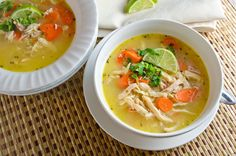 Creamy Coconut Lime Soup made with Costco rotisserie chicken. I want it for lunch TODAY!