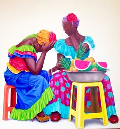 Amaranta y Orfa Acrílico sobre lienzo y cristales de swarovsky 150 x 150  2017 Black Girl Art, Black Art, Art Girl, African American Art, African Art, Colombian Art, African Paintings, Caribbean Art, Fruit Painting
