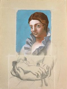 Pablo PICASSO (Málaga, 1881 - Mougins, 1973) Portrait d'Olga, 1921.Pastel, charcoal and chalk on Canson paper mounted on canvas.