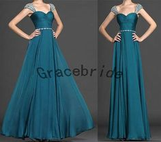 new teal chiffon bridesmaid gowns for wedding long by Gracebride, $128.00