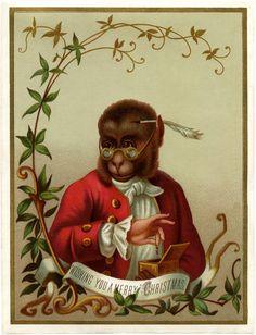 Christmas Monkey Freebie! - The Graphics Fairy