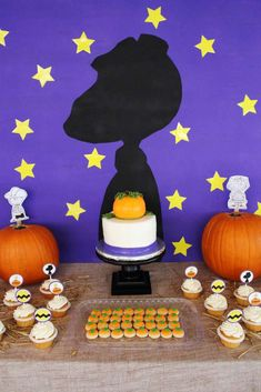 Great Pumpkin Peanuts birthday party dessert table! See more party planning ideas at CatchMyParty.com!