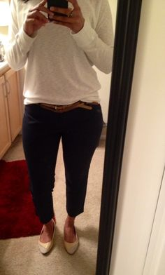 White T-shirt, Navy Blue Pants, Nude+Brown Belt with Nude Flats (work outfit)