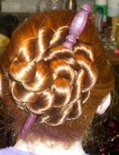 rose bun - You need to be able to make a two-strand rope braid. This style is so simple! You just wrap a rope braid into a bun. You can also do two rope braids and wrap one into a bun one way, then wrap the other around it in the other direction